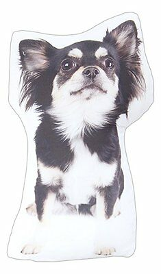"""Long Hair Chihuahua Throw Pillow Dog New Black & White 15"""" High Breed Polyester"""
