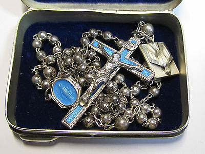 † Amazing Antique Guilloche Enameled Tiny Sterling Rosary & Hallmarked Case †
