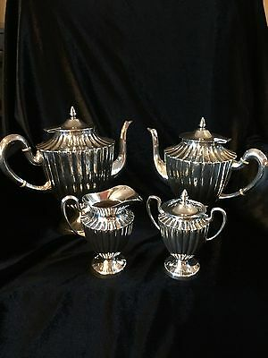 Maciel Mexico 4 Piece Sterling Silver Coffee Set Hand Chased Vintage