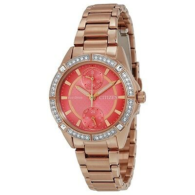 New Citizen Watch Eco Drive Fd3003-58X Pink Dial Crystal Rose Gold Warranty