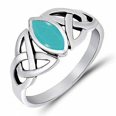 Stabilized Turquoise Marquise Celtic Knot Ring  Sterling Silver