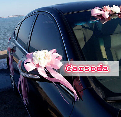 Wedding Car Decoration-Heart Shape Rose w Long Ribbon Limousine Door Side Mirror
