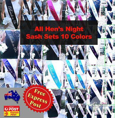 Bulk Hens Night Sash Sets Party Bride To Be Bridesmaid Maid of Honour 10 Colors