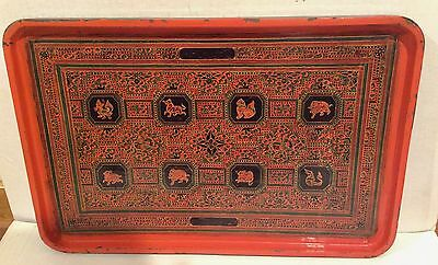 Antique Burmese Wood and Lacquer Tray 8 Animals