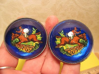 Authentic OLD BLUE Rider Jumping Wall Rosettes Chapman Maker Marked MAKE OFFER