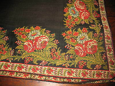 Antique Shawl With Floral Border