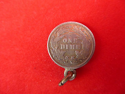 1885 United States of America Silver ONE DIME Pendant