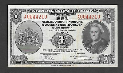 Nederlands Indie 1 Gulden 1943 Circulated Banknotes Nederlandsch Indie