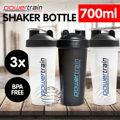 3x 700ml Protein Drink Water Bottle Shaker BPA Blender Workout Gym Running Sport