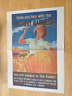 WW11 Poster - COME AND HELP WITH THE VICTORY HARVEST