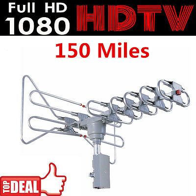 150 Mile Digital Amplified Outdoor Infrared TV VHF/UHF/FM Antenna 360° Rotation