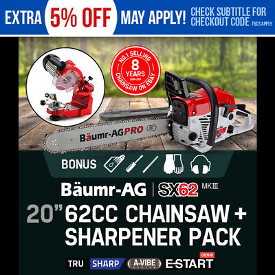 "NEW BAUMR-AG 62cc Petrol Commercial Chainsaw 20"" Bar E-Start Chain Saw Sharpener"