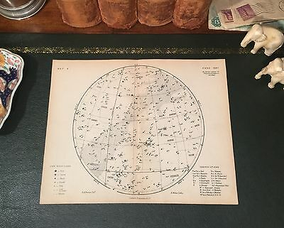 Original 1880 Antique Celestial Astronomy STAR MAP Gemini Orion Aries Taurus