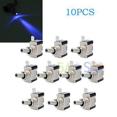 10PCS Blue LED Light Toggle Switch SPST 12V 20A On/Off For Automotive/Car/Boat