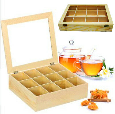 12 Compartments Wooden Tea Box With Glass Top Nature Wood Storage  Container