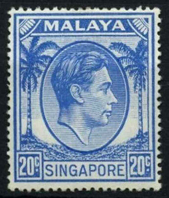 Singapore 1948-52 SG#24a, 20c Bright Blue KGVI P17.5x18 MH #D46946