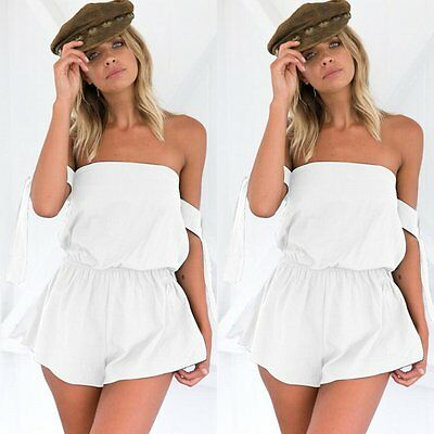 Casual Women Off Shoulder Short Jumpsuit Waist Backless Romper Summer Playsuit