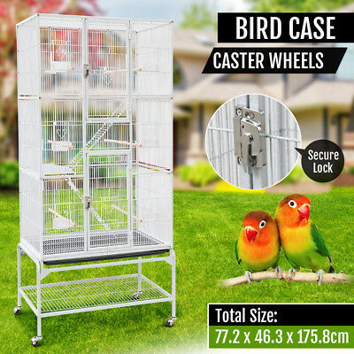 175cm Large Stand-Alone Parrot Aviary Budgie Canary Bird Cage On Wheels White
