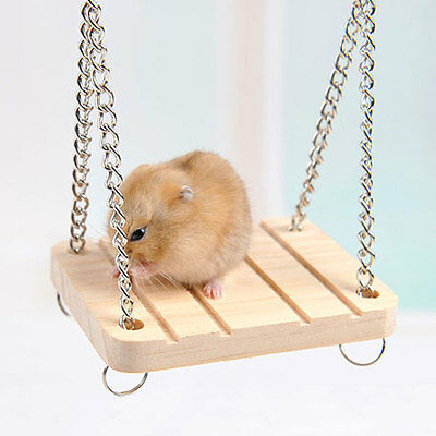 Hamster Rabbit Mouse Chinchilla Wooden Hanging Pet Hammock Small Swing Toys UK