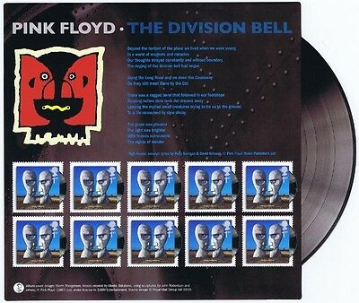 2010 Pink Floyd The Division Bell - Album Covers Souvenir Sheet of Mint Stamps