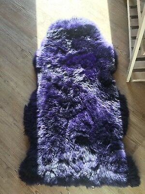 Genuine CURLY Teal  sheepskin rug XXL single Rare eco pelt STUNNING Curly Fur