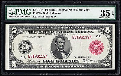 FR833b $5 1914 RED SEAL SERIES FRN NEW YORK PMG 35 EPQ CHOICE VF WLM3131