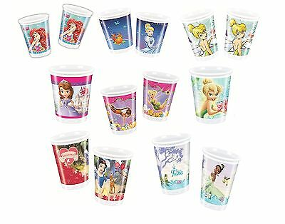 PLASTIK BECHER 200ml DISNEY PRINZESSINNEN Designs Kinder/Geburtstag/Party/