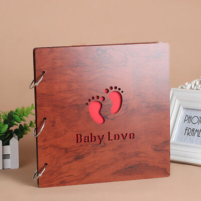DIY 30Pg 26.9 x 26.4cm Wood Cover 3Rings Photo Album Wedding Scrapbook Baby Love