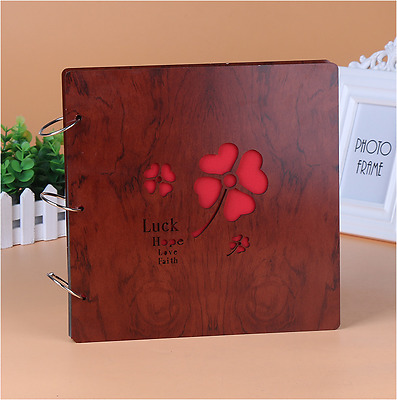 DIY 30Pg 26.9x26.4cm Wood Cover 3Ring Photo Album Wedding Scrapbook LUCK CLOVER