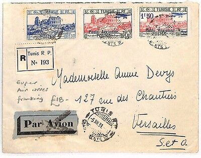 BF133 1931 Tunisia Air Mail Versailles France Cover {samwells-covers}