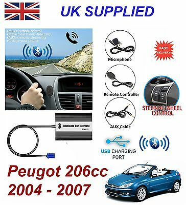For Peugeot 206cc Bluetooth Hands Free Phone AUX Input MP3 USB Charger ModuleRD3