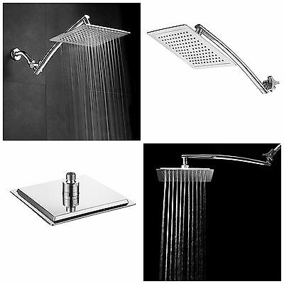 Rainfall Shower Head Square With Arm Bath Rain Bathroom Equipment Wall Mount New