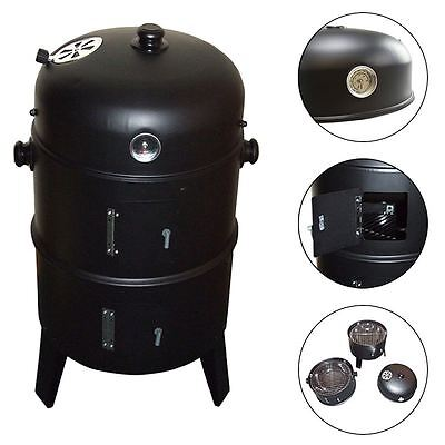 3 in 1 BBQ Charcoal Grill Barbecue Smoker & Hangers Black Garden Outdoor Cooker