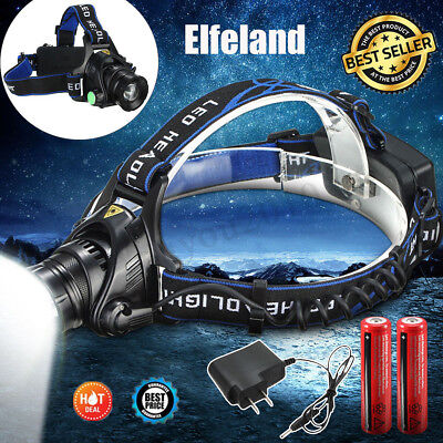 50000LM T6 LED Headlamp Headlight Zoomable Torch Lamp 18650 Battery Charger SET