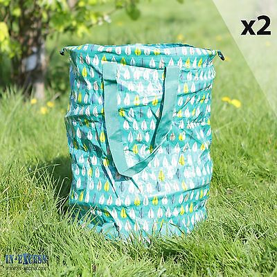 Qty 2 Garden Pop Up Waste Bin Durable Fabric & Steel Frame Easy Store 550 x 430