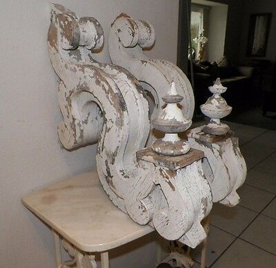 Vintage Shabby White Chippy Paint Chic Pair Of Corbels 20""
