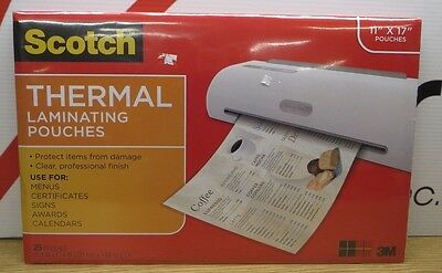"Lot of 4 Scotch Thermal Laminating Pouch 11"" x 17"" Clear 25 Count (100) A16"
