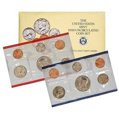 1990 P & D US Mint Set United States Original Government Packaging Box Cello