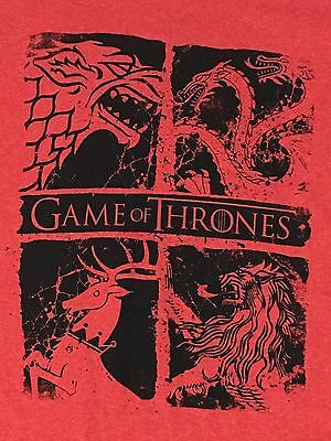 Officially Licensed GAME Of THRONES Red 4 Houses TShirt Sm. Stark Lannister HBO