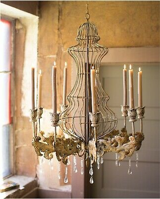 Huge Candle Rustic Tin Chandelier w Crystals for Home or Movie Prop Old Style