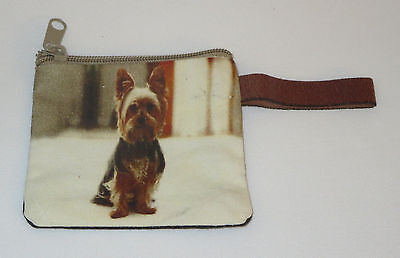 """Yorkshire Terrier Coin Purse Yorkie Leather Strap New Zippered 4"""" Long Dog Pets"""