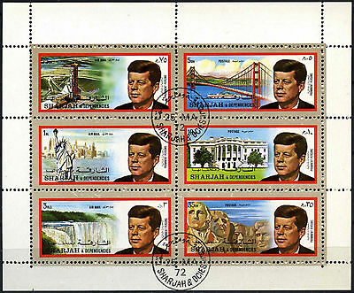 Sharjah 1972 JFK John F Kennedy, US Landmarks Cto Used M/S Sheet #C113