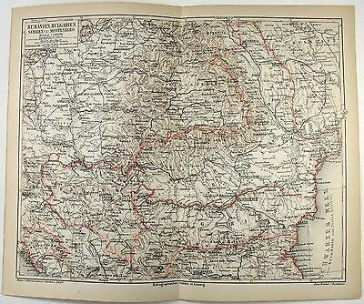 Original 1878 Map of Romania, Bulgaria and Serbia by Meyers