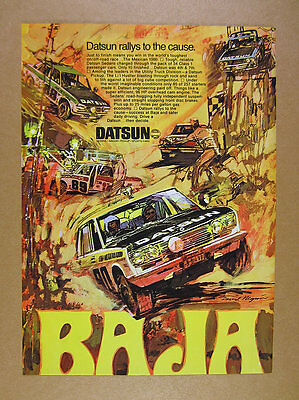 1970 Datsun Mexican 1000 Race Results GREAT rally car art vintage print Ad