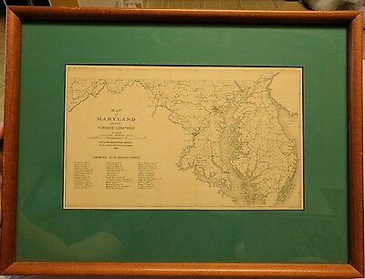 Antique VTG Map of Maryland 1909 geological survey By A. Hoen Nice framed Exc
