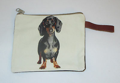 """Dachshund Makeup Bag Leather Strap New Zippered 4"""" x 6"""" Dog Doxie Puppy Dogs"""