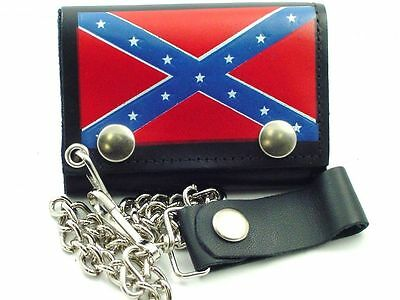 Biker Leather South FLAG Chain Wallet - Tri Fold - American Made