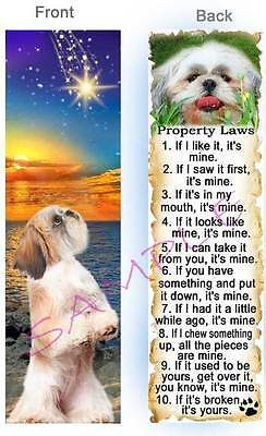 SHIH TZU Property LAW DOG RULES BOOKMARK Lhasa Apso Tan Book ART Card Poodle Mix
