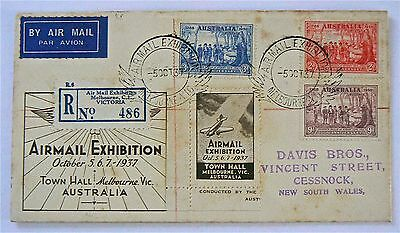 Airmail Exhibition Cover 1937. With Special Exhibition Reg Label & Vignette
