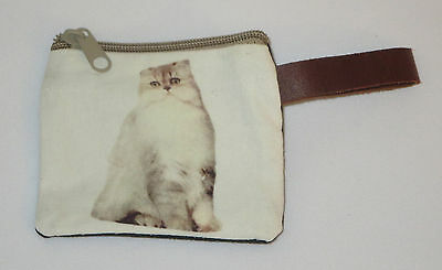 "Cat Coin Purse Leather Strap New Zippered 4"" Long Cats Pets Gray White"